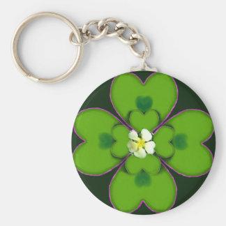 Four Leaf Clover St. Patrick Irish Flower Patty Keychain