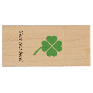 Four-leaf clover wood USB flash drive
