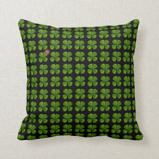 Four-leaf clovers and ladybug - good luck throw pillow