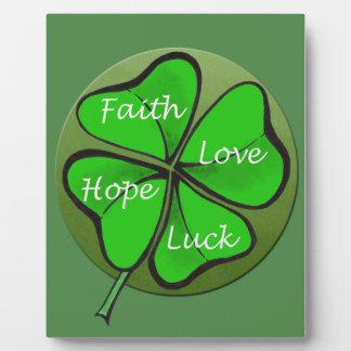Four-Leaf Clovers-Faith Love Hope Luck - Bible Plaque