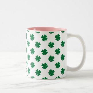 Four leaf clovers in green Two-Tone coffee mug