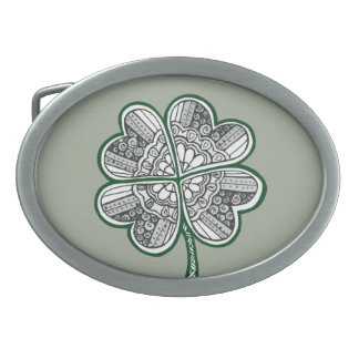 Four Leave Clover 1 Oval Belt Buckle