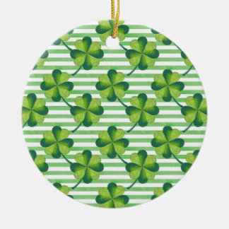 Four Leaves Clover St. Patrick's Day Pattern Ceramic Ornament