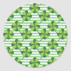 Four Leaves Clover St. Patrick's Day Pattern Classic Round Sticker