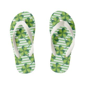 Four Leaves Clover St. Patrick's Day Pattern Kid's Flip Flops