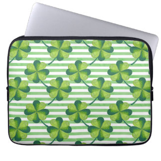 Four Leaves Clover St. Patrick's Day Pattern Laptop Sleeves