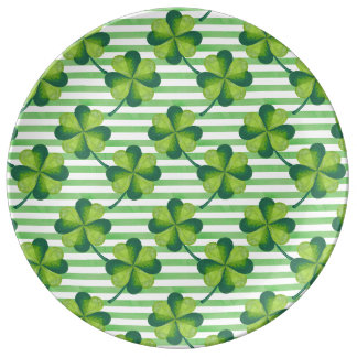 Four Leaves Clover St. Patrick's Day Pattern Porcelain Plates