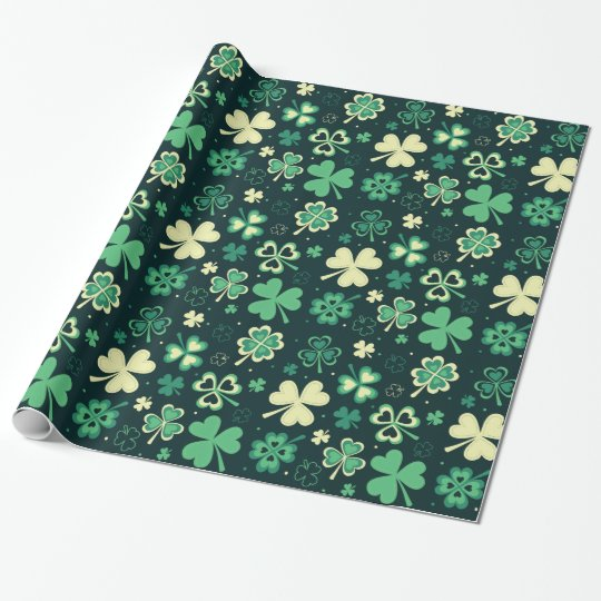 Four leaves clovers pattern - Patrick day Wrapping Paper