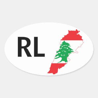 FOUR Lebanon Flag Map Oval Sticker