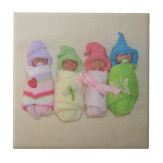 Four Little Babies: Polymer Clay Sculptures Tile