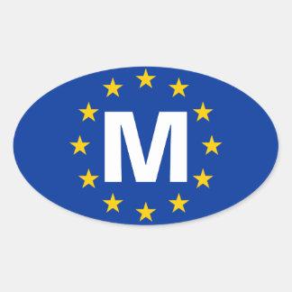 """FOUR Malta """"M"""" European Union Flag Oval Sticker"""