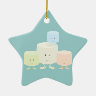 Four marshmallows smiling together ceramic star ornament