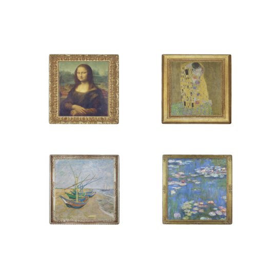 Four Mini Masterpiece Painting Marble Magnets Stone Magnets