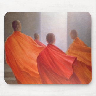 Four Monks on Temple Steps Mouse Pad