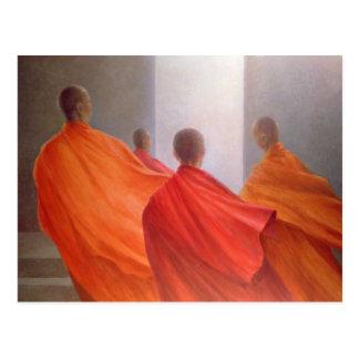 Four Monks on Temple Steps Postcard