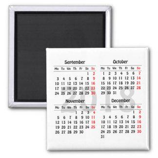 Four months 2018 calendar magnet