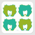 FOUR MOODS in TEAL and GREEN Square Sticker