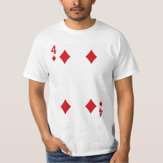 Four of Diamonds Playing Card T-Shirt