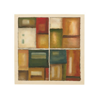 Four Paneled Painting by Jennifer Goldberger Wood Print