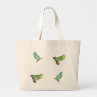 Four parrotlets large tote bag