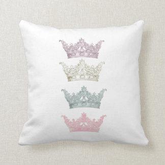 Four Pastel Crowns Throw Pillow