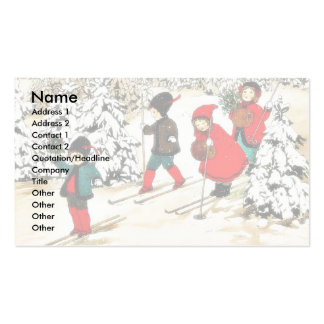 Four People snow slading in the snow land Double-Sided Standard Business Cards (Pack Of 100)