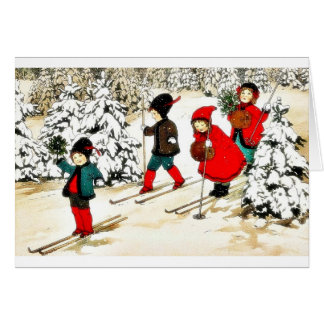 Four People snow slading in the snow land Card