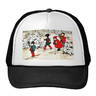 Four People snow slading in the snow land Mesh Hats