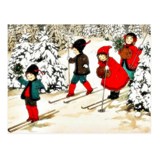 Four People snow slading in the snow land Postcard