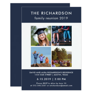 Four Photo Blue and White Family Reunion Card