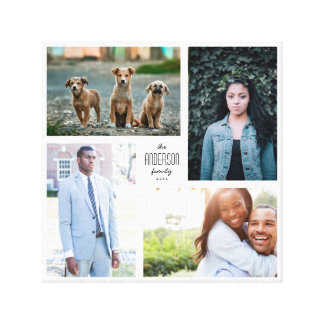Four Photo Collage Canvas with Custom Text