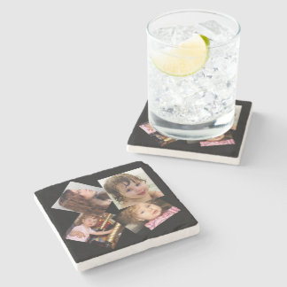 Four Photo Collage Template Stone Beverage Coaster