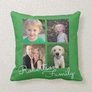 Four Photo Family Collage Green Throw Pillow