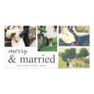 Four Photo | Merry & Married Typography Holiday Photo Greeting Card