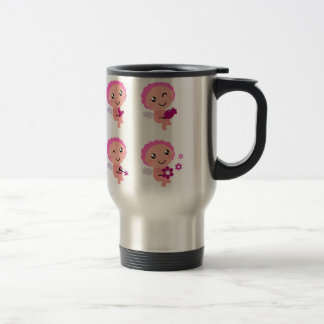 Four Pink Angels with Hearts Travel Steel Mug