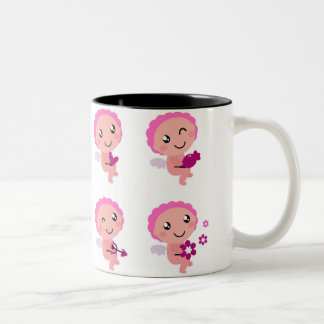 Four Pink Angels with Hearts Two-Tone Mug