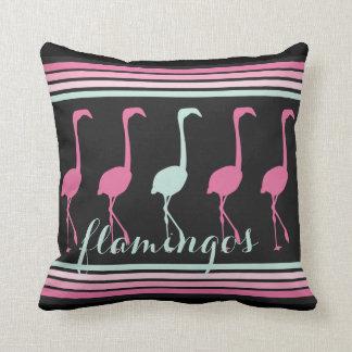 Four Pink Flamingos One Light Blue Throw Pillow