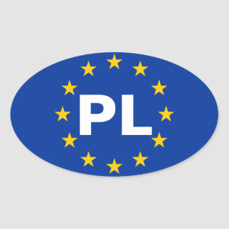 "FOUR Poland ""PL"" European Union Flag Oval Sticker"