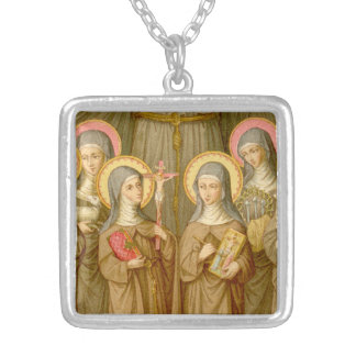 Four Poor Clare Saints (SAU 027) Silver Plated Necklace