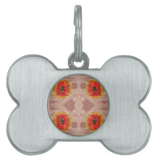 Four poppy globes on wood pet name tag