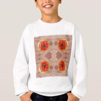 Four poppy globes on wood sweatshirt