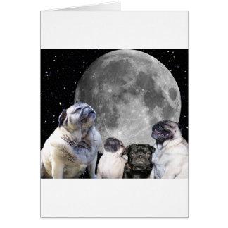 Four Pug Moon Pug Card