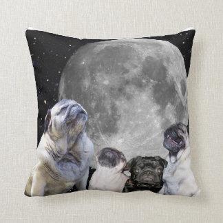 "Four Pug Moon Throw Pillow 16"" x 16"""