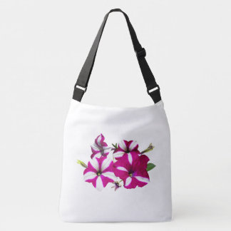 Four Red and White Petunias Crossbody Bag