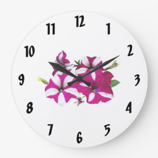 Four Red and White Petunias Large Clock