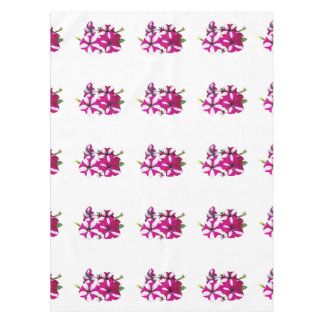 Four Red and White Petunias Tablecloth