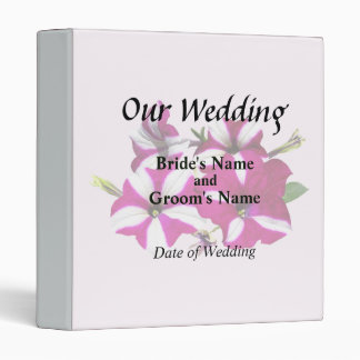 Four Red and White Petunias Wedding Supplies Binder