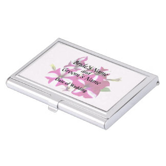 Four Red and White Petunias Wedding Supplies Business Card Holder