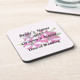 Four Red and White Petunias Wedding Supplies Drink Coasters