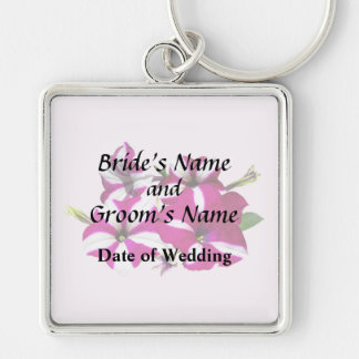 Four Red and White Petunias Wedding Supplies Keychain